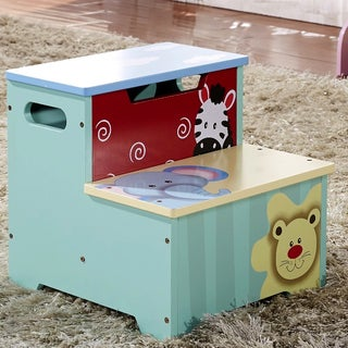 Children's Zebra, Elephant, and Lion Storage Step Stool