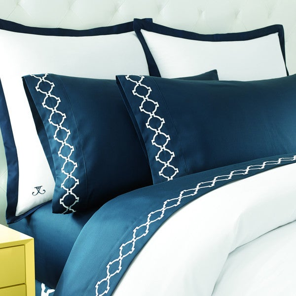 Jill Rosenwald Hampton Links Navy Pillowcase Pair