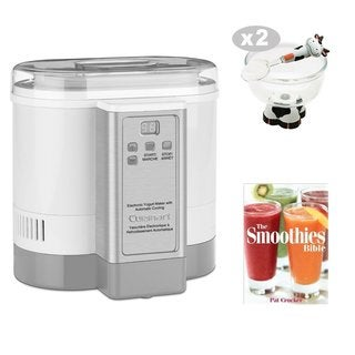 Cuisinart CYM100 Electronic Yogurt Maker + Ice Cream Bowl and Spoon + The Smoothies Bible By Pat Crocker