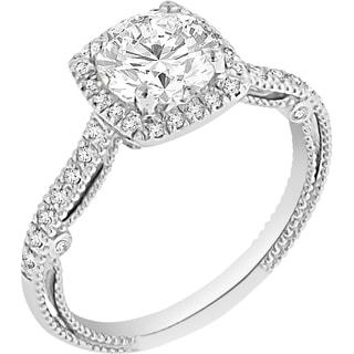Verragio 18k White Gold Cubic Zirconia Center and 1/4ct TDW Diamond Halo Semi-Mount Ring (VS1-VS2, F-G)