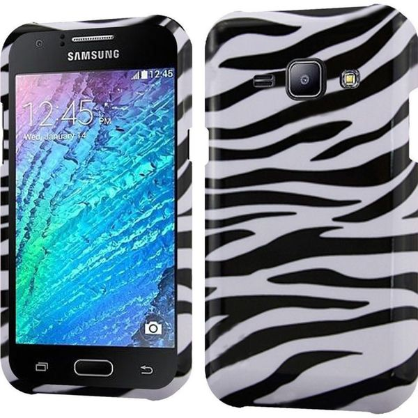 Insten Black/ White Zebra Hard Snap-on Rubberized Matte Case Cover For Samsung Galaxy J1