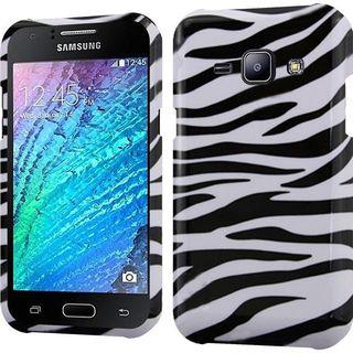 Insten Black/ White Zebra Hard Snap-on Rubberized Matte Case Cover For Samsung Galaxy J1