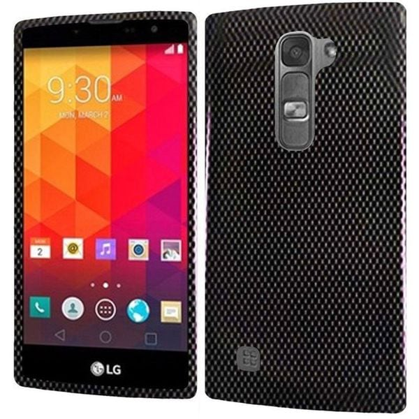 Insten Black Carbon Fiber Hard Snap-on Rubberized Matte Case Cover For LG Volt 2
