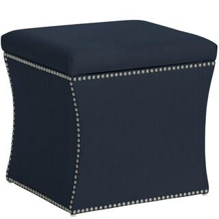 Skyline Furniture Nail Button Storage Ottoman in Klein Midnight