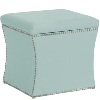 Skyline Furniture Nail Button Storage Ottoman in Klein Pool