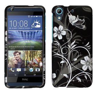 Insten Black/ White Flowers Hard Snap-on Rubberized Matte Case Cover For HTC Desire 626/ 626s