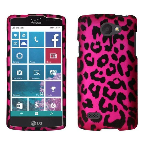 Insten Hot Pink/ Black Leopard Hard Snap-on Rubberized Matte Case Cover For LG Lancet