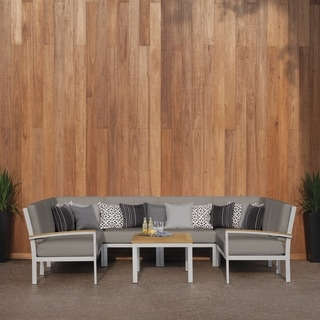 Oxford Garden Travira 7-Piece Loveseat and Table Chat Set - Natural Tekwood