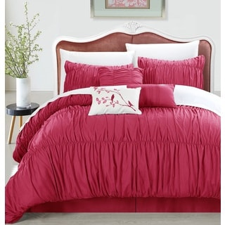 Chic Home Frances 7-piece Pink Pleated and Ruffled Comforter Set