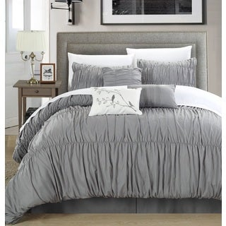 Chic Home Frances Silver Pleated and Ruffled 7-piece Comforter Set