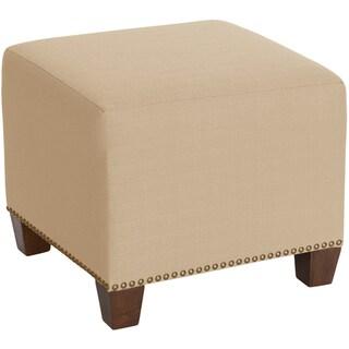 Skyline Furniture Square Nail Button Ottoman in Klein Ricepaper