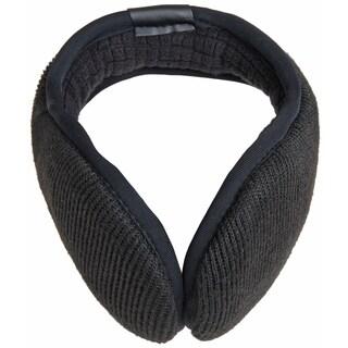 Black Ribbed Soft Compact Foldable Fleece Interior Earmuffs