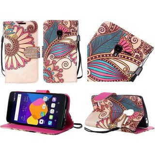 Insten Yellow Antique Flower Leather Case Cover Lanyard with Stand/ Diamond For Alcatel One Touch Elevate