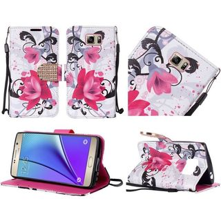 Insten Purple/ White Lily Leather Case Cover Lanyard with Stand/ Diamond For Samsung Galaxy Note 5