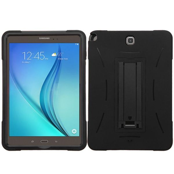 Insten Black Symbiosis Soft Silicone/ PC Dual Layer Hybrid Rubber Case Cover with Stand For Samsung Galaxy Tab A 9.7