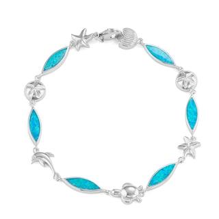 La Preciosa Sterling Silver Created Blue Opal Sealife Link Bracelet