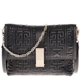 Versace Leather Quilted Crossbody Flap Bag