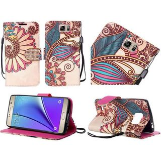 Insten Yellow Antique Flower Leather Case Cover Lanyard with Stand/ Diamond For Samsung Galaxy Note 5