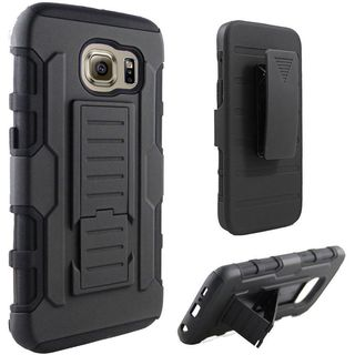 Insten Black Hard PC/ Silicone Dual Layer Hybrid Case Cover with Holster For Samsung Galaxy S6