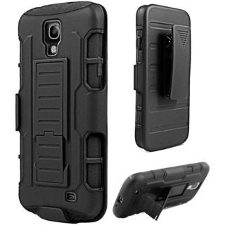 Insten Black Hard PC/ Silicone Dual Layer Hybrid Case Cover with Holster For Samsung Galaxy S4