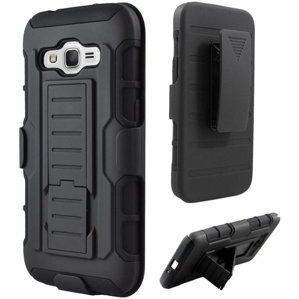 Insten Black Hard PC/ Silicone Dual Layer Hybrid Case Cover with Holster For Samsung Galaxy Prevail