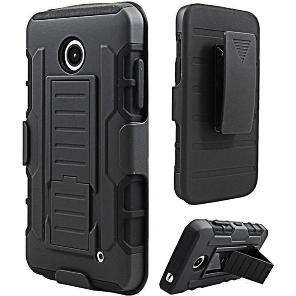 Insten Black Hard PC/ Silicone Dual Layer Hybrid Case Cover with Holster For Nokia Lumia 630(Cricket)