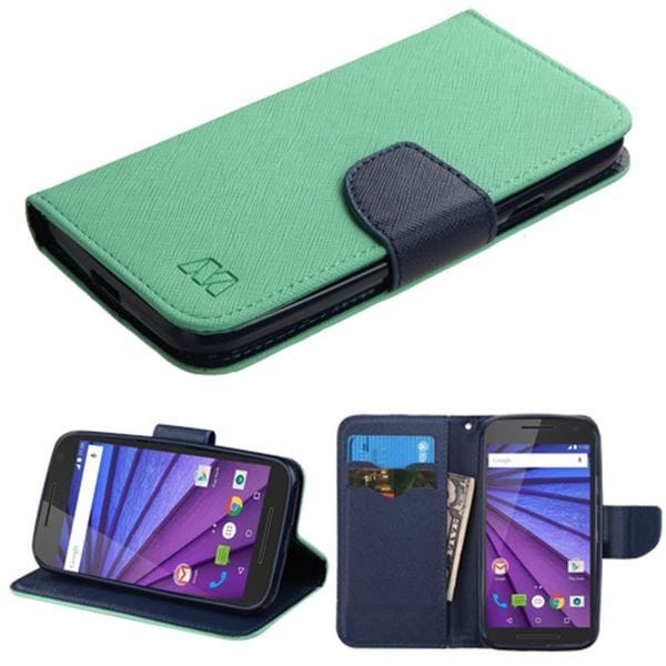 Insten Leather Case Cover with Stand/ Wallet Flap Pouch For Motorola Moto G (3rd Gen)