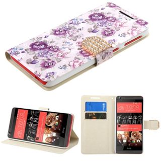 Insten Purple/ White Flowers Leather Case Cover with Stand/ Wallet Flap Pouch/ Diamond For HTC Desire 626/ 626s