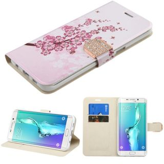 Insten Pink/ White Spring Flowers Leather Case Cover with Stand/ Wallet Flap Pouch/ Diamond For Samsung Galaxy S6 Edge Plus