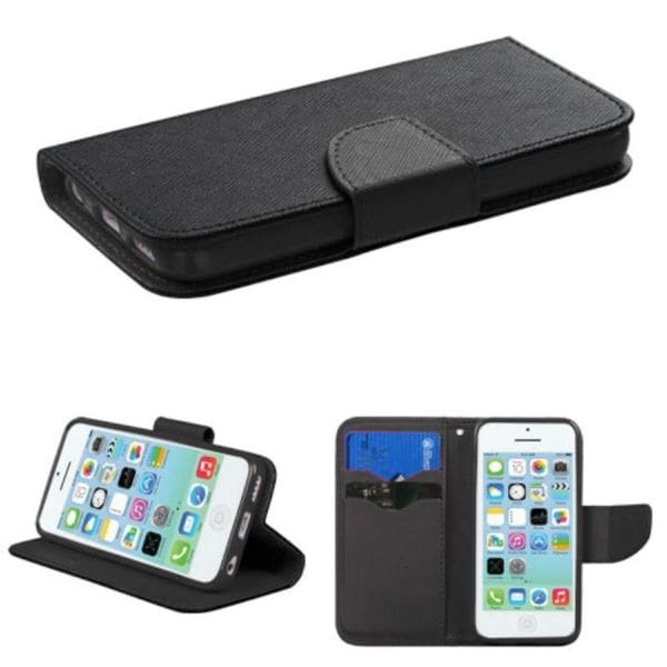 Insten Black Leather Case Cover with Stand/ Wallet Flap Pouch For Apple iPhone 5C