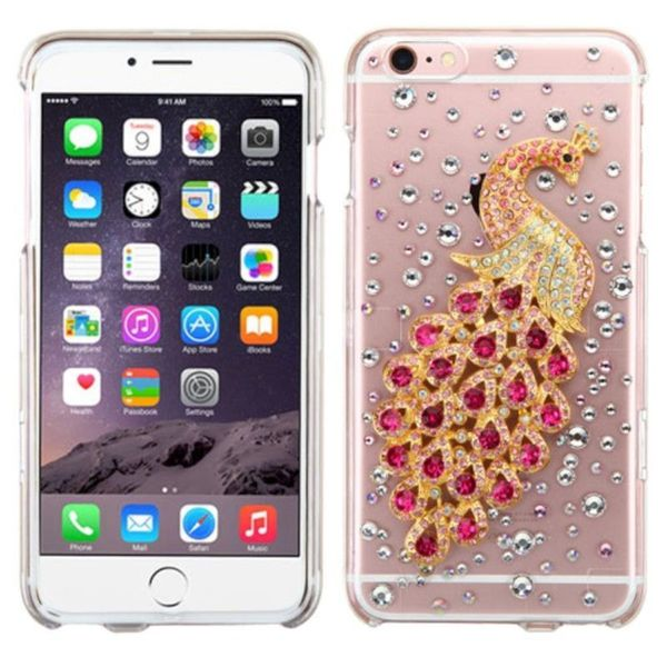 Insten Clear 3D Peacock Hard Snap-on Crystal Case Cover with Diamond For Apple iPhone 6 Plus/6s Plus
