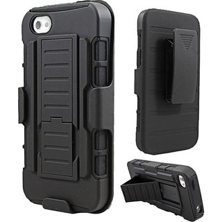 Insten Black Hard PC/ Silicone Dual Layer Hybrid Case with Holster for Apple iPhone 5/ 5S/ SE