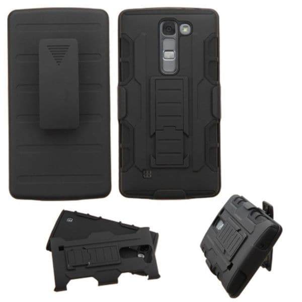 Insten Black Car Armor Hard PC/ Silicone Dual Layer Hybrid Case Cover with Holster For LG Magna/ Volt 2