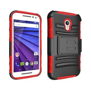 Insten Hard PC/ Silicone Dual Layer Hybrid Case Cover with Holster For Motorola Moto G (3rd Gen)