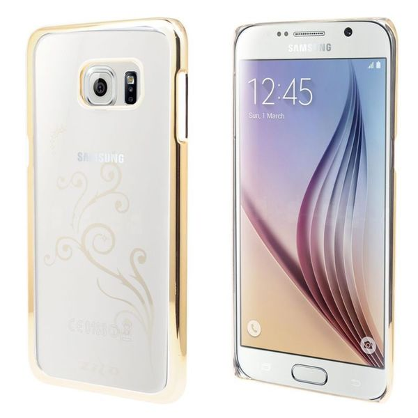 Insten Clear/Gold Vines Hard Snap-on Rubberized Matte Case Cover For Samsung Galaxy S6 Edge Plus