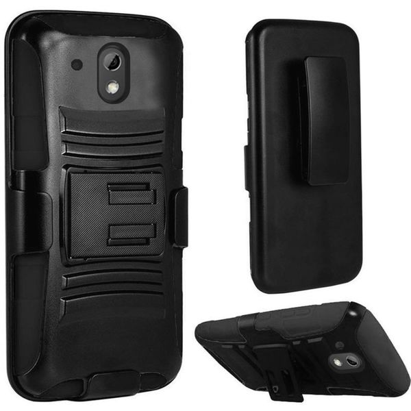 Insten Black Hard PC/ Silicone Dual Layer Hybrid Case Cover with Holster For HTC Desire 526