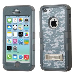 Insten Grey/White Camouflage Tuff hard PC Silicone Dual Layer Hybrid Rubberized Matte Case Cover with Stand For Apple iPhone 5C