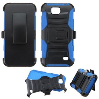 Insten Black/ Blue Hard PC/ Silicone Dual Layer Hybrid Case Cover with Holster For ZTE Fanfare/ Maven/ Overture 2