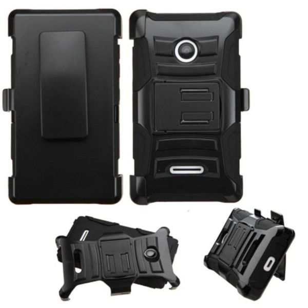 Insten Black Hard PC/ Silicone Dual Layer Hybrid Case Cover with Holster For Microsoft Lumia 435