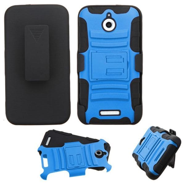 Insten Blue/ Black Advanced Armor Hard PC/ Silicone Dual Layer Hybrid Case Cover with Stand For HTC Desire 510
