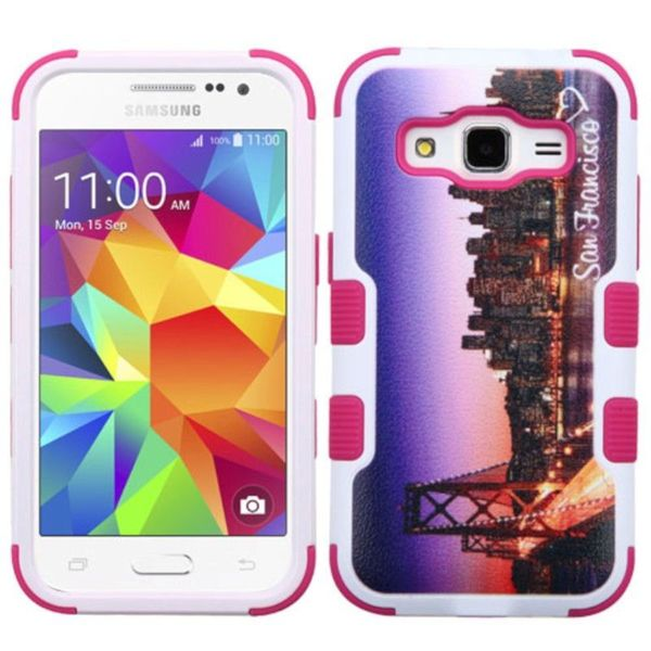 Insten Purple/Hot Pink San Francisco Skyline Tuff Hard PC/ Silicone Dual Layer Hybrid Case Cover For Samsung Galaxy Core Prime