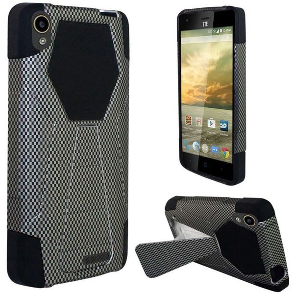 Insten Black Carbon Fiber Hard PC/ Silicone Dual Layer Hybrid Case Cover with Stand For ZTE Warp Elite