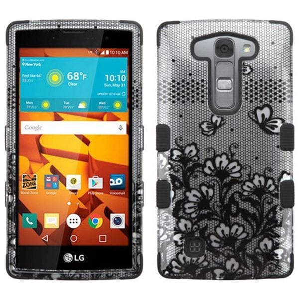 Insten Black Lace Flowers Tuff Hard PC/ Silicone Dual Layer Hybrid Rubberized Matte Case Cover For LG Magna/ Volt 2