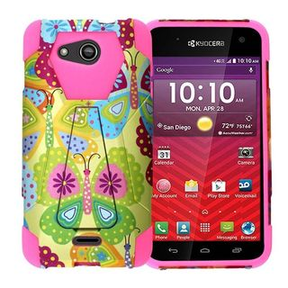 Insten Yellow/ Hot Pink Summer Butterflies Hard PC/ Silicone Dual Layer Hybrid Case Cover with Stand For Kyocera Hydro Wave