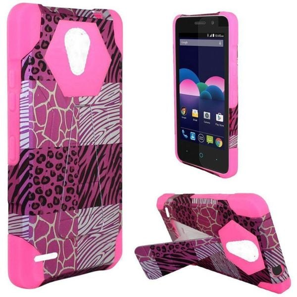 Insten Hot Pink/ Black Exotic Skins Hard PC/ Silicone Dual Layer Hybrid Case Cover with Stand For ZTE Obsidian