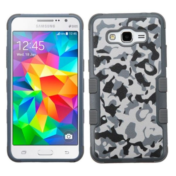 Insten Grey/White Camouflage Tuff hard PC Silicone Dual Layer Hybrid Rubberized Matte Case Cover For Samsung Galaxy Grand Prime