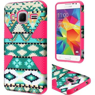 Insten Green/ Hot Pink Aztec Dynamic Hard PC/ Silicone Dual Layer Hybrid Case Cover For Samsung Galaxy Core Prime