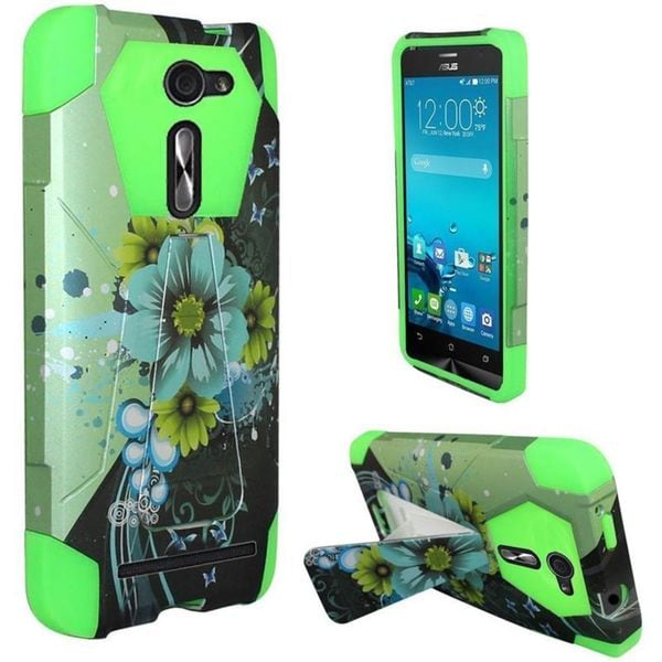 Insten Green/ Blue Sublime Flower Hard PC/ Silicone Dual Layer Hybrid Case Cover with Stand For ASUS Zenfone 2E