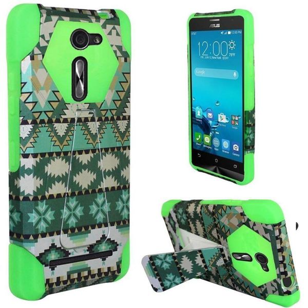 Insten Green/ White Aztec Hard PC/ Silicone Dual Layer Hybrid Case Cover with Stand For ASUS Zenfone 2E