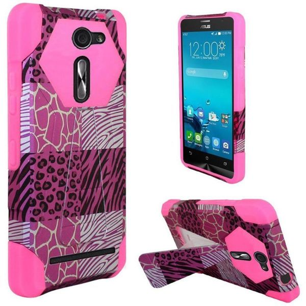 Insten Hot Pink/ White Exotic Skins Hard PC/ Silicone Dual Layer Hybrid Case Cover with Stand For ASUS Zenfone 2E